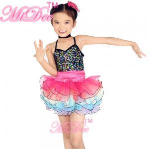 Cheap Rainbow Kids Dance Clothes Curly Hem Skirt Sequin Tiered Dress Back Straps Cross wholesale