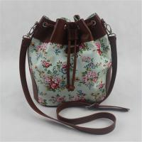 Buy cheap Calico Printing Canvas Women Tote Bags / Crossbody Shoulder Bags With Natural Material from wholesalers