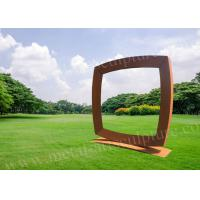 Buy cheap Laser Cutting Corten Steel Sculpture With Square TV Shape As Garden Decoration product