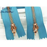 Buy cheap Metal Double Sided Rose Gold Zipper And Double Sliders Zipper As Decorative Zipper from wholesalers