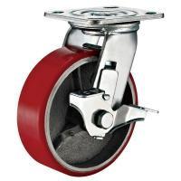 Buy cheap Lockable Industrial Trolley PU Caster Wheel With Plate Fitting 4 Inches product