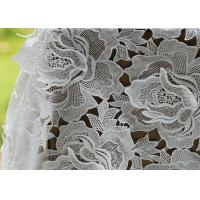 Buy cheap White Water Woluble French Polyester Guipure Lace Fabric With 3D Flower Design from wholesalers