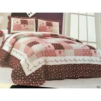 Quality Burgundy Color Home Bed Quilts Modern Technics With Matched Printed 240x260cm for sale