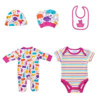 Buy cheap New Born Girls Cotton Infant Rompers Bibs Bodysuit Clothes Full Printed Baby from wholesalers