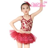 Cheap Fancy Kids Dance Costumes Floral Sequin Dress Matching Tulle Tutu Skirt wholesale
