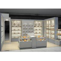 Shopping Mall Retail Shoe Store Fixtures With Tall Cabinet And Tables Modern Style