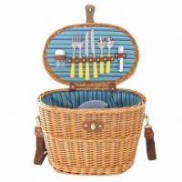 Buy cheap Willow Picnic Basket for Couple, 2 Sets Tableware, Round Shape product