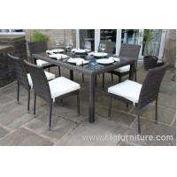 Buy cheap 100% Handmade Wicker Dining Set 7pcs With Parasol Hole Outdoor Furniture for Home product