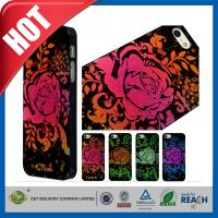 Lady Red Glitter Flowers Plastic Luxury Apple Cell Phone Cases Back Covers For Iphone 5 / 5S