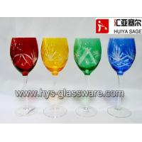 Buy cheap Multi-color red wine glasses, engraved,cutting, red, amber, green,cobalt, china factory product