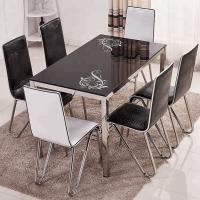Buy cheap Indoor Decoration Tempered Glass Dining Room Table Sets With Stambled Table Foot product
