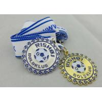 Buy cheap 2D or 3D Gold Plating Iron / Brass / Zinc Alloy Rishoj Iron Stamped Ribbon Medals with Soft Enamel product