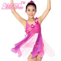 China Three Tier Color Modern Dance Costumes / Lyrical Dance Wear Floral Band Across Bodice on sale