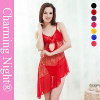 Wide Style Transparent Sexy Chemise Lingerie , Young Girls sexy nightwear dress