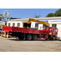 Buy cheap HOWO 6x4 10 Ton Folding Boom Truck Mounted Crane Red Color,Material Is Carbon Steel from wholesalers
