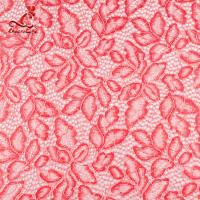 Buy cheap Comfortable Pink Embroidered Lace Fabric Dimensional High Stability from wholesalers