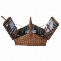 Buy cheap Picnic Basket, Wicker Material, Rectangle, Foldable, Holds 4 Sets of Tableware, Willow with Belt product