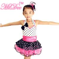 Cheap Sweet Heart Neckling Tiered Layered Skirt Polka Dots Children'S Dance Costumes wholesale