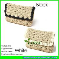 China LUDA vintage straw purses natural flower border paper straw clutch hand bag on sale