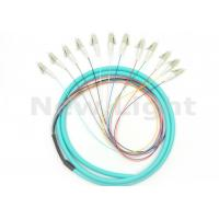 Buy cheap Green LC OM3 Fiber Patch Cord , 1.5M Length 12 Core Multimode Fiber Optic Cable from wholesalers