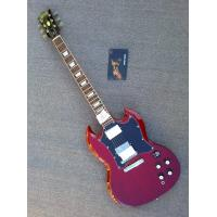 Buy cheap Customised electric guitar SG transparente dark wine red with black pickguard ,Chrome hardware parts product