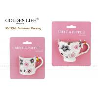 Buy cheap Solid Material Porcelain Cappuccino Espresso Cups AB Grade With Pink Flowers from wholesalers