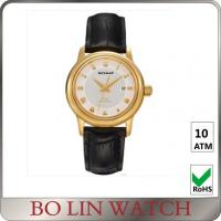 40mm Case Size Leather Strap 18k Solid Gold Watches For Women Customised Logo