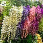 Buy cheap UVG 110cm faux floral arrangements long shoot wisteria silk flowers for wedding decoration WIS016 product