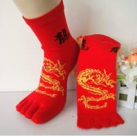 Buy cheap Personalized Novelty Red Five Finger Toe Socks With Dragon Pattern For Men / from wholesalers