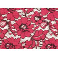 Buy cheap Red Brushed Elastic Lace Fabric Eco Friendly 135cm Width OEM / OMD CY-LQ0001 product