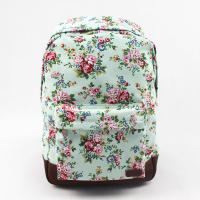 Oversized Flower Print Backpack , Brown Leather Canvas Backpack Customized Printing