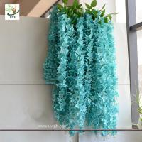 Buy cheap UVG WIS006 Blue silk wisteria artificial flower for wedding and party decoration product