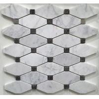 China White And Grey Slate Stone Mosaic Tile Diamond Carrera Venato Marble Black Dots Polished on sale