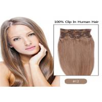 China 100% Unprocessed Brown Clip In human Hair Extensions Real Indian Virgin Hair on sale