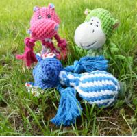 Buy cheap Small Plush Animal Head Braided Rope Ball W Squeaker Inside Dog Chewing Toy product
