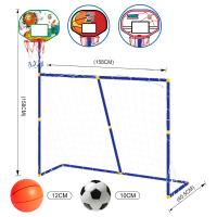 Buy cheap 3 In 1 Portable Kids Soccer Goal with Basketball Hoop Kit indoor outdoor games product