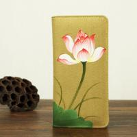 Buy cheap Retro Travel Khaki Leather Clutch Wallet Canvas With Hand Painted Flower product