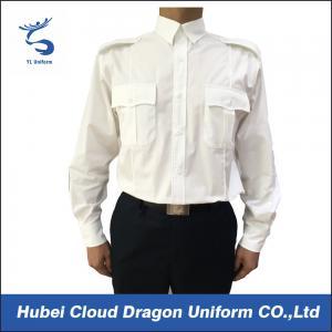 US Market 100% Cotton Security Guard Shirts , White Long Sleeve Shirt Flat Pocket