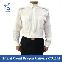 Quality US Market 100% Cotton Security Guard Shirts , White Long Sleeve Shirt Flat Pocket for sale