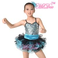 Cheap Sequin Top Two Colour Pleated Tulle Skirt Spandex Dance Clothes For Girls wholesale