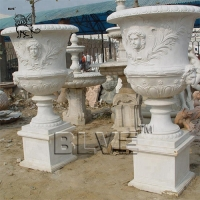 Buy cheap white marble flowerpots planters white natural stone by hand carved product