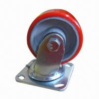 Buy cheap Caster with PU Mold on Cast Iron Wheel and Roller Bearing product