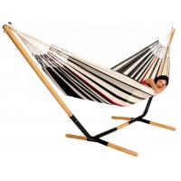 China Double Fabric Free Standing Folding Travel Hammock Poly Cotton Strips Sleeping Bed on sale