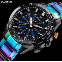 China Boamigo Fashion Creative LED and Quartz Dual Time Watch 3 ATM Waterproof Colorful Stainless Steel Band Watch F922 on sale