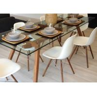Buy cheap Simple Glass And Solid Wood Long Modern Dining Table / Home Kitchen Furniture from wholesalers