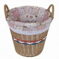 Buy cheap Round Basket, Made of Willow Material, with Lining and Ears, Ideal for Storage product