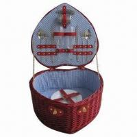 Buy cheap Heart-shaped wicker picnic/camping basket for 2, holds 2 sets of tableware product
