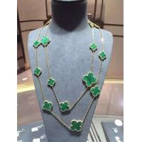 Buy cheap Magic Alhambra Long Necklace Van Cleef And Arpels 16 Motifs Yellow Gold Malachite product