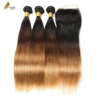 Buy cheap 1B/4/27 Brazilian Straight Blonde Dark Roots Human Hair Extension With Lace from wholesalers