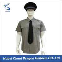 Cheap Men / Women Long Sleeve Security Guard Shirts With 100% Cotton Materials , Dark Grey Color wholesale